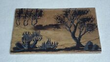 Vintage Authentic Australian Aboriginal Traditional Arts Painted on Bark Board B