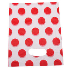 100pcs Lots Red Polka Dots White Plastic Flat Carrier Bags Merchandise Packing D
