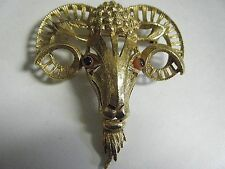 NICE VTG 1960s GOLD TONE FLORENZA RAM GOAT ARIES EGYPTIAN REVIVAL LARGE PIN