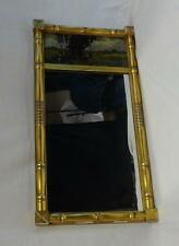 Antique Sheraton Style Mirror Reverse Glass Painted Gold Gilt Frame