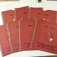 "7x 78rpm 10"" card gramophone record sleeves PAT CLARK , WALLSEND ON TYNE"