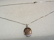 STERLING SILVER FLORAL TWO PHOTO LOCKET PENDANT ON 18 INCH BOX CHAIN N219-C