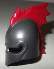 06253, 1x Helm, Drachenritter, mit Kamm, antrazit, rot