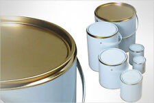 4 X EMPTY PAINT TINS LACQUERED CAN - SUITABLE FOR WATERBASED PAINTS - 1Ltr