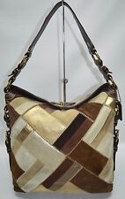Coach Rare Chelsea Brown Suede Leather Patchwork Large Turnlock Bag 10974
