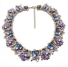BEAUTIFUL ZARA LILAC CLEAR STONES COLLAR STATEMENT NECKLACE – NEW