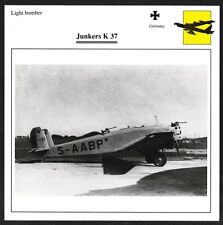 Germany Junkers K 37 Light Bomber Warplane Card - I Combine S/H