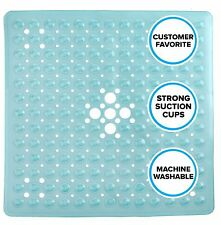 "Aqua Blue Square Shower Mat with Suction Cups: 21"" Safety Mat by SlipX Solutions"