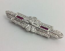 14K WHITE GOLD DIAMOND RUBY BROOCH PIN