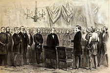 New York City  Hall MAYOR HOFFMAN Welcomes PRESIDENT 1866 Engraving Print Matted