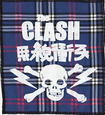 THE CLASH BLUE TARTAN SEW ON PATCH JAPANESE SKULL LIGHTNING BOLT PUNK 1977