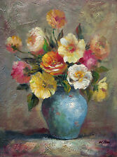"""""""Blooming"""" Beautiful Oil Painting of a Vase Full of Blooming Flowers 12""""x16"""""""