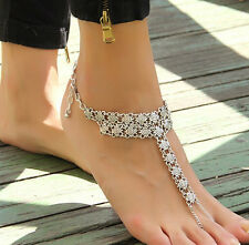 Hot Vintage Women Summer Barefoot Sandals Retro Silver Anklet Chain Foot Jewelry