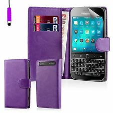 Book Wallet PU Leather Case Cover BlackBerry Phones + Screen Protector & Stylus