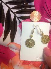UNIQUE DOUBLE SIDED  STAMPED 1808 ANTIQUED GOLD COIN  MONEY dangle earrings
