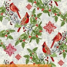 SEASON'S GREETINGS RED CARDINALS SNOWFLAKES HOLLY FABRIC