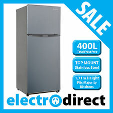 Brand New 400 Litre Top Mount Refrigerator Stainless Steel Fridge Freezer