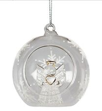 NORDIC SCANDI CHRISTMAS TREE GLASS OPEN ANGEL LARGE BAUBLE XMAS DECORATION