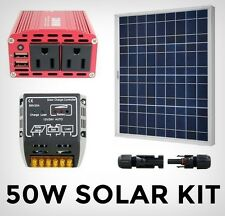 Solar System Kit with 50w panel, controller, 12V inverter and snap connectors