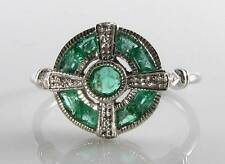 LOVELY 9K 9CT WHITE GOLD EMERALD DIAMOND ART DECO INS RING FREE RESIZE