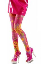 60's 70's Flower Power  Hippie Tights Hosiery XL Plus Size Fancy Dress (16-20)