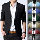 Trendy Men Long Sleeve Slim Fit One Button Suit Blazer Casual Coats Jacket Tops