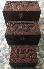 Antique Hand Carved Wooden Boxes/Chest