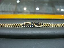 "FINE DIAMOND AND SAPPHIRE ROLEX LINK BRACELET 14 KARAT YELLOW GOLD NEW 7"" WOW"