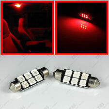 """2 - Festoon 1.72"""" Red 6-SMD LED Light Bulbs for Interior Dome Map Reading Lights"""