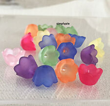 Frosted Lucite Flower Bell Bead Caps Assorted Colors 20 Acrylic