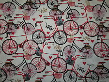 RETRO BIKE BICYCLE FRENCH VELO RED HEARTS WHITE COLORS COTTON FABRIC FQ
