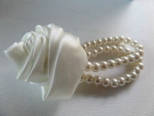 DOUBLE PEARL BEAD STRETCH BRACELET WITH SATIN ROSE BUD FLOWER CORSAGE new