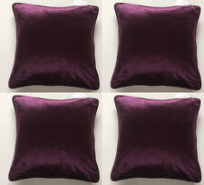 4  X SUPER SOFT PURPLE PLUM MILANO VELVET DELUXE CUSHION COVERS 43 x 43 CMS