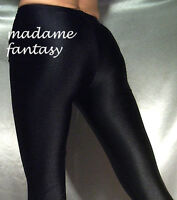 SEXY BLACK SHINY OPAQUE SPANDEX LEGGINGS XS-XXXL Tall