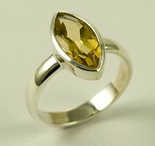 Ring Citrine Tear Drop Ring Faceted Stone 925 Sterling Silver Stone of Abundance