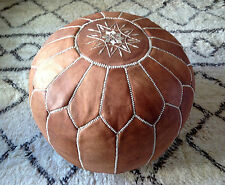 MOROCCAN TAN HAND STITCHED LEATHER POUFFE