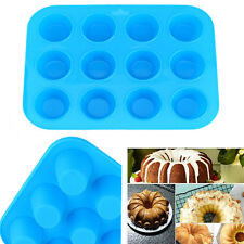 12 Silicone Mold Muffin Pudding Mould Bakeware Round Cup Cake Pan Baking Tray