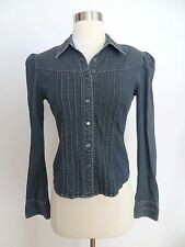 DKNY Jeans size 4 victorian western pleated button down denim blouse top shirt
