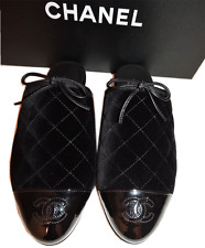 16P CHANEL Black Patent Leather CC LOGO Quilted Velvet Flat Mules Pump Shoe 37