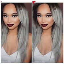 New Women's Long Straight Gray Mixed  Anime Fashion Cosplay Party Full Wig/Wigs