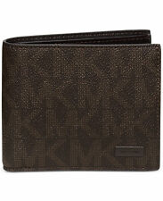 $285 MICHAEL KORS Mens BROWN LOGO Jet Set Leather Bi-Fold BILLFOLD 8CC WALLET