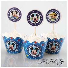 12pcs Disney Mickey Mouse Cupcake Toppers + Wrappers. Jelly Cup