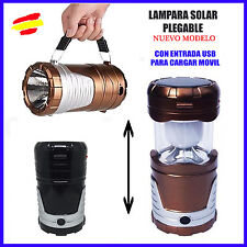 Linterna LED SOLAR Plegable carga MOVIL USB por energia solar Camping Lampara