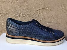 New Year Sale   Laura Bellariva Leather Weave Design Blue Sneakers Shoes 41