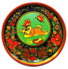 Assiette murale bois peint Motif Chien Assiette en bois
