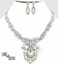 HIGH END CLEAR CHUNKY CRYSTAL WEDDING FORMAL PROM NECKLACE JEWELRY SET TRENDY