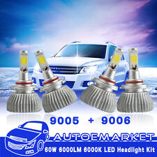 4x 9005 9006 HB3 HB4 120W 12000LM Combo LED Headlight Kit Hi/Lo Beam 6000K Bulbs