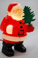 """Vintage 1950s Christmas Glolite Santa Plastic Lighted Wall Plaque with Tree 7"""""""