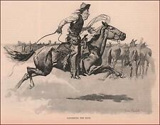 COWBOY GALLOPING, Gathering Rope, by Frederic Remington, antique print 1892