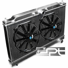 "ECLIPSE 2G TURBO MT/MANUAL TWO ROW/CORE ALUMINUM CHROME RADIATOR+12"" BLACK FANS"